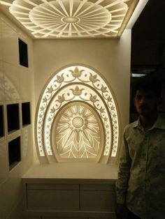 Mandir Mandir Decoration, Temple Design For Home, Mandir Design, Pillar Design, Pooja Room Door Design, Jewellery Shop Design, Puja Room, Prayer Room, Dining Table Design