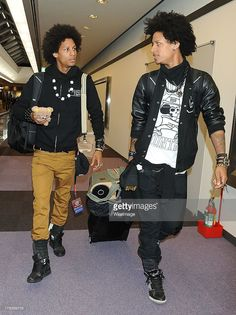 Beyonce's show dancers Larry Bourgeois and Laurent Bourgeois of Les Twins are seen upon airport...
