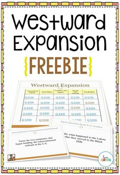 This {F R E E} Westward Expansion Review game is a fun way to review content that was learned in class. It covers the Transcontinental Railroad, Pioneers, Native American Conflicts, and Cowboys and Miners.