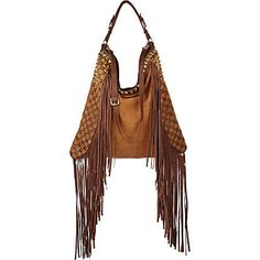 dark beige stud and fringe oversized bag