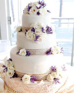 white & purple romantic cake