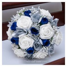 Royal blue and silver silk wedding bridal bouquet ❤ liked on Polyvore featuring home, home decor, floral decor, silk rose bouquet, royal blue bouquet, flower stem, artificial flower bouquets and rose bouquet