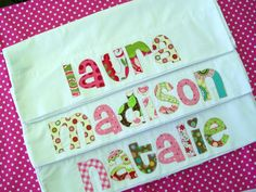 Personalized Pillowcase  ....   Choose Your Fabrics .... birthday gift, graduation gift, party favor. $14.00, via Etsy.