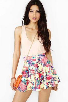 Electric Rose Skater Skirt