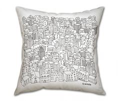 This unique pillow is the result of a collaboration with Ukrainian illustrator Olga Degtjareva. She draws for Russian Forbes and Esquire as well as illustrates children's books. Fits superbly in a scandinavian style home. But, one can experiment and add a touch of preciousness to any reserved style. Or, you can go eclectic! Just create!