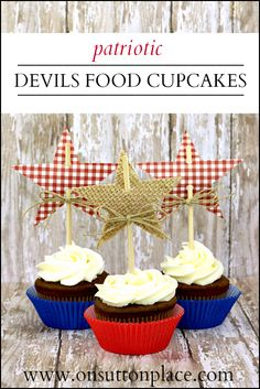 Devils Food Cupcake Recipe with Easy DIY Star Toppers