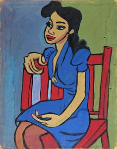 William H. Johnson - Harlem Renaissance - Woman in Blue Dress in Red Chair