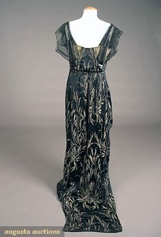 Evening gown (image 3) | House of Worth | Paris | 1908 | silk satin brocade, diamante | Augusta Auction House | May 2007/Lot 656