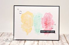 WIEBKE ZANDER - SSS One With Nature Stamp Set in white embossing with soft watercolor