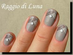 Raggio di Luna Nails: Dots and white square nail art studs on lunar grey