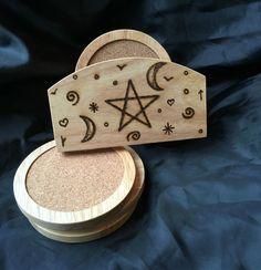 Witches Pentagram Hevea Rubber Wood 6 Piece Wooden Coaster Set. Cup Tea Mug Mat