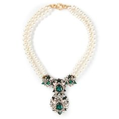Shourouk Swan Necklace ($580) ❤ liked on Polyvore featuring jewelry, necklaces, white, swarovski crystal necklace, shourouk, white necklace, white jewelry and shourouk jewelry