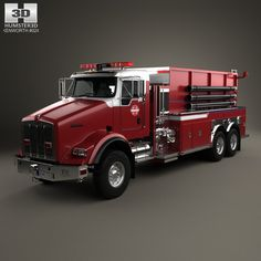 Kenworth T800 Fire Truck 3-axle 2005 3d model from humster3d.com. Price: $75
