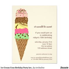 "#IceCreamCone #BirthdayPartyInvitationTemplate 4.25"" X 5.5"" Invitation Card"
