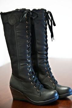 Breckenridge Fur Lined Lace-Up Boots-Black - Boots / Shoes Cute Boots, Lace Up Boots, Black Boots, Wedge Boots, Heeled Boots, Bootie Boots, Crazy Shoes, Me Too Shoes, Sock Shoes