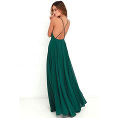 Lulus Mythical Kind of Love Dark Green Maxi Dress ($64) ❤ liked on Polyvore featuring dresses, gowns, long maxi skirts, evening gowns, white evening gowns, long white skirt and floor length evening gown