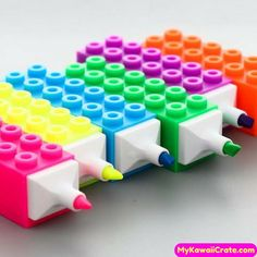Highlight important paragraphs with these Fun Building Blocks Fluorescent Highl … - DIY Stationery School Stationery, Kawaii Stationery, Cool School Supplies, Cute Pens, Cute Stationary, Too Cool For School, Cool Stuff, Rainbow Colors, Bunt