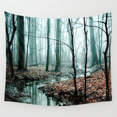 Gather up Your Dreams Wall Tapestry, dreamy moody forest tree decor, woodland art, fog