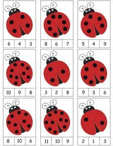 ladybug counting activity
