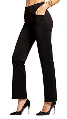 7e8bd8de74 Conceited Premium Women's Stretch Dress Pants - Slim Or Bootcut - All Day  Comfort in Solids and Pinstripes by at Amazon Women's Clothing store: