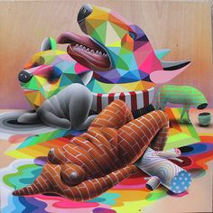 Collages, Okuda, Illustrations, Mural Painting, Dali, Fashion Branding, Surrealism, Canvas, Outdoor Decor