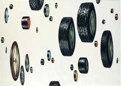 Lisa Milroy: Tyres 1988 Oil on Canvas 80 x 102 inches Lisa Milroy, Everyday Objects, Still Life, Oil On Canvas, Cool Stuff, Spring Term, Year 8, Sketchbook Ideas, Gcse Art