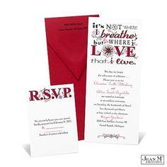 Artistic Poetry Wedding Invitation - Merlot
