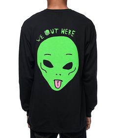 "Let everyone know that your squad is lit with the We Out Here black long sleeve t-shirt. The We Out Here long sleeve t-shirt features a green alien head screen printed on the left chest with the text ""We Out Here"" above and larger on the back. The left sl"