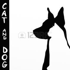 fondo con el gato y el perro silueta Foto de archivo