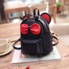 Super Cute 2016 Candy-Colored Mini Mouse Ear Leather Backpack w/Bowknot Accent 4 Colors