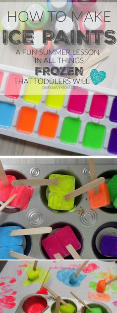 Ice Painting - Fun Summer Craft Idea For Toddlers + How To Make Ice Paints Summer Activities for Kids Summer Crafts For Kids, Summer Activities For Kids, Summer Kids, Art For Kids, Indoor Activities, Education Games For Kids, Family Activities, Outdoor Play For Toddlers, Toddler Activities For Daycare
