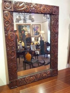 Large mirror #ArtDeco in #mahogany. #Carved flowers decro. #20th century. For sale on Proantic by Côte Ouest Antiquités.