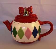 Christmas Bow Bell teapot ... harlequin pattern on body, red bow and gold bell for knob, ceramic