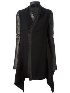 RICK OWENS Leather Sleeve Coat