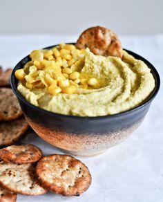 Sweet Corn + Roasted Jalapeño Hummus I howsweeteats.com