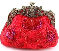Red Beaded Victorian Purse - Roses And Teacups