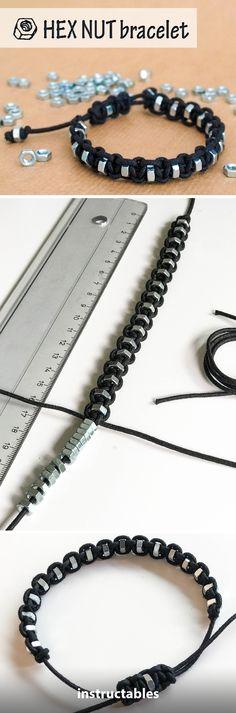 Shamballa Bracelet Hex Nut  #jewelry #upcycle