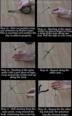 Armature Tutorial for clay. Would do nicely for felting. Sculpting Tutorials, Doll Making Tutorials, Clay Tutorials, Paper Mache Projects, Diy Craft Projects, Clay Dolls, Art Dolls, Paperclay, Doll Tutorial