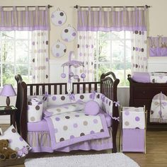 polka dot purple baby girl room ideas