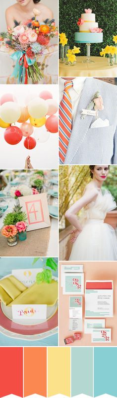 Spring Citrus: An Orange, Yellow and Blue wedding color palette | www.onefabday.com