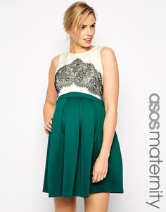 Image 1 of ASOS Maternity Skater Dress with Bonded Lace Detail