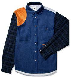 Bodega Denim/Plaid Mixed Fabric Shirt