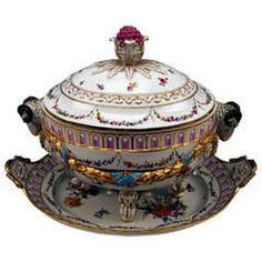 Meissen Large Lidded Tureen With Oval Platter Marcolini Period Made C.1800