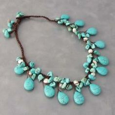 Organic Cotton Turquoise and White Pearl Teardrop Necklace (Thailand)
