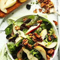 EASY Salad with Pears, Dried Cherries, and Candied Walnuts! #Vegan #glutenfree #salad #recipe #healthy #summer