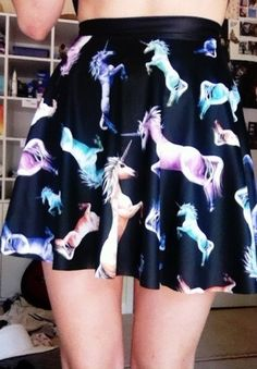 Unicorn skater skirt, might have to get this my best friend, she is in love with unicorns, anyone know where to get this? Pastel Goth Fashion, Kawaii Fashion, Grunge Fashion, Cute Fashion, Skirt Fashion, Visual Kei, Goth Princess, Unicorn Outfit, Unicorn Clothes