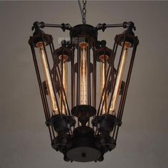 Steampunk and industrial pendant or hanging lamp.