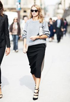 Midi-length skirts pair perfectly with seasonal textured pieces like knit sweaters and suede pumps. // #OutfitIdeas #Streetstyle