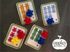 Kids LOVE using manipulatives during math time and I LOVE teaching with them. I had a ton of these math bear counters in my room, but didn. Kindergarten Math Activities, Autism Activities, Math Classroom, Kindergarten Classroom, Fun Math, Math Counters, 1st Grade Math, Math Stations, School Themes