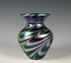 Lundberg Studios Cabinet size Art Glass Vase Green & Blue with Iridescent Stripe in Pottery & Glass, Glass, Art Glass | eBay